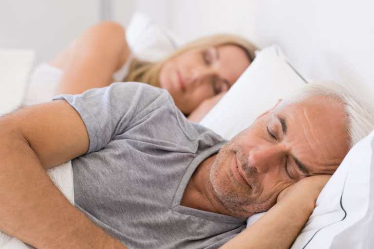 Couple sleeping soundly after meditation